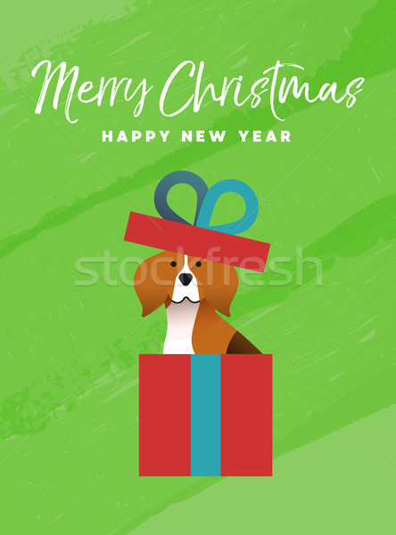 Christmas and new year holiday beagle dog card Stock photo © cienpies