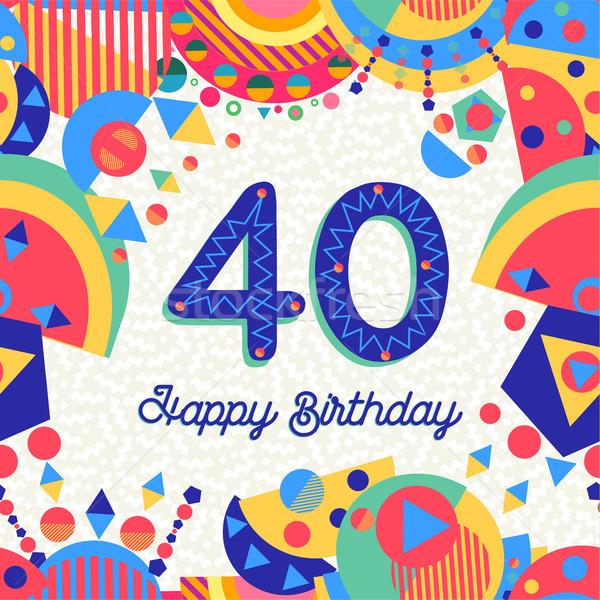 40 quarante année fête d'anniversaire carte de vœux joyeux anniversaire Photo stock © cienpies