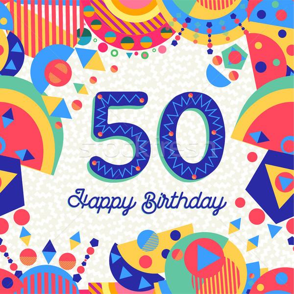 50 пятьдесят год празднование дня рождения С Днем Рождения Сток-фото © cienpies