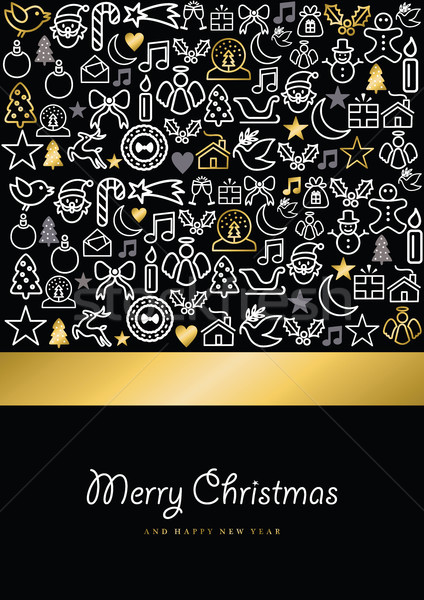 Christmas and new year gold icon set card  Stock photo © cienpies