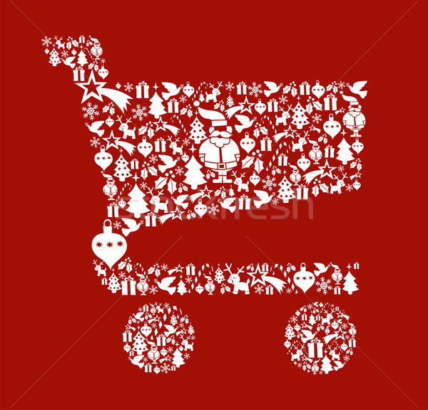 Christmas icon set in shopping cart shape Stock photo © cienpies