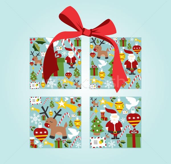Foto d'archivio: Natale · scatola · regalo · illustrazione · vettore