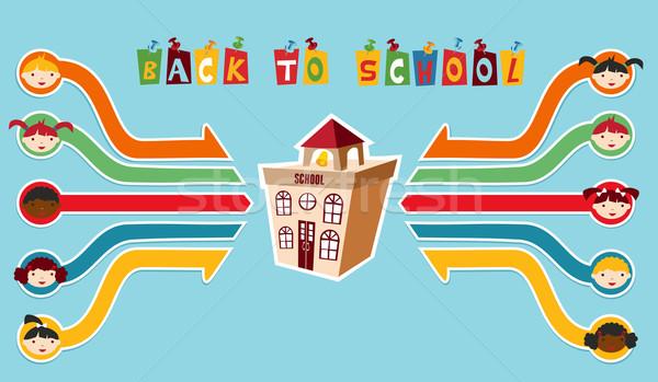 Vissza az iskolába gyerekek hálózat osztálytársak diagram réteges Stock fotó © cienpies