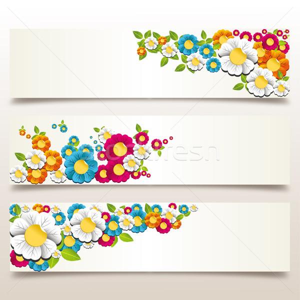 Stock fotó: Tavaszi · virág · szalag · színes · tavaszi · virágok · réteges · könnyű
