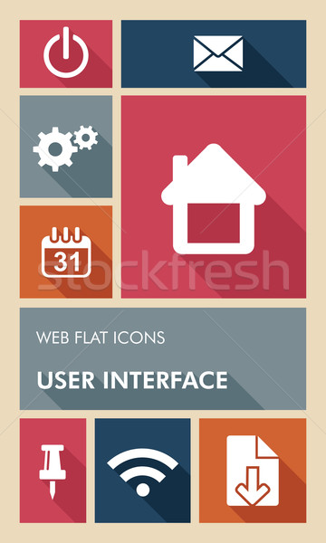 Colorful UI web apps user interface flat icons. Stock photo © cienpies