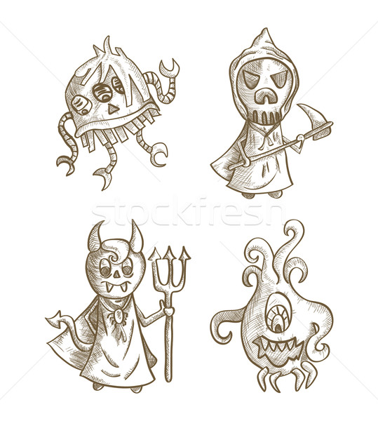 Halloween monsters isolated spooky cartoon creatures set. Stock photo © cienpies
