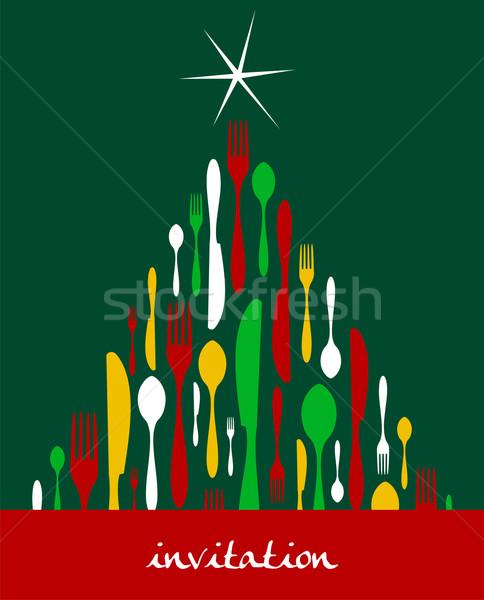Christmas Tree Cutlery  Stock photo © cienpies