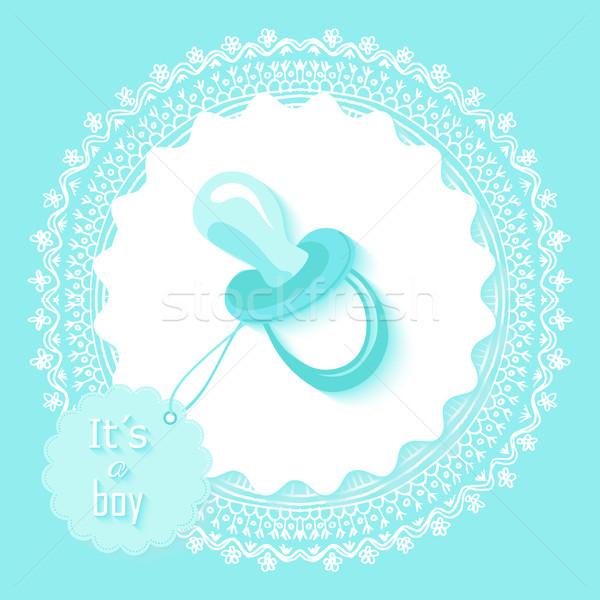 Baby Dusche Junge Einladungskarte Design Text Stock foto © cienpies