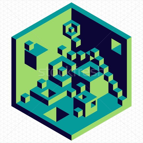 Isometric 3d cubes shape illustration Stock photo © cienpies