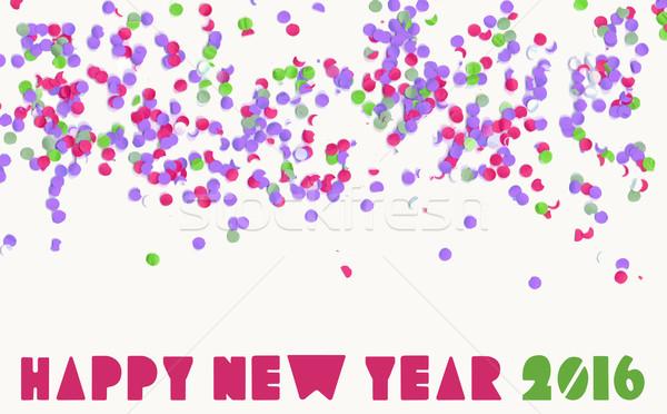 Feliz ano novo 2016 confete festa férias bandeira Foto stock © cienpies