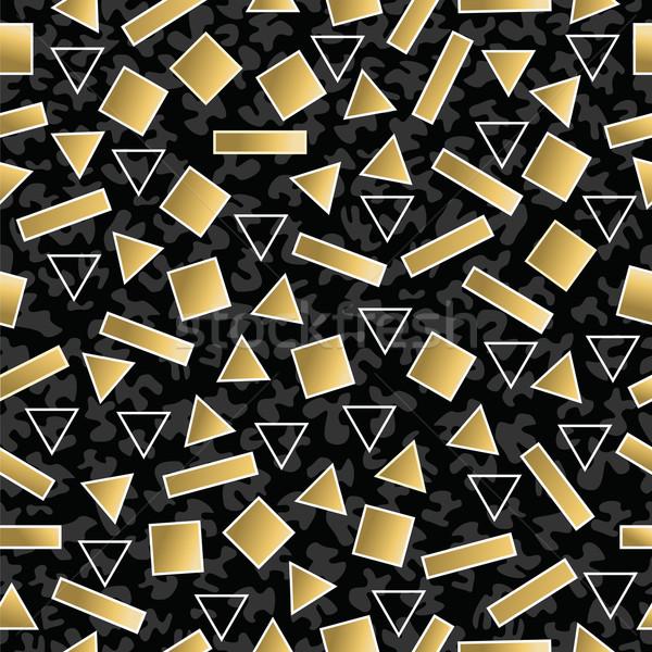 Retro 80s geometria złota Zdjęcia stock © cienpies