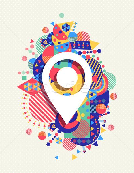 Foto stock: GPS · mapa · icono · colorido · vibrante · forma