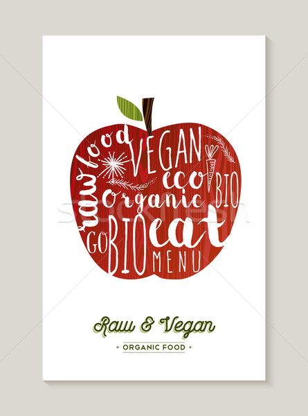 Vegan and raw food apple concept illustration Stock photo © cienpies