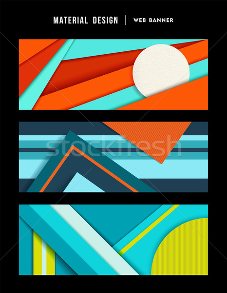 Material design abstract web banner set Stock photo © cienpies