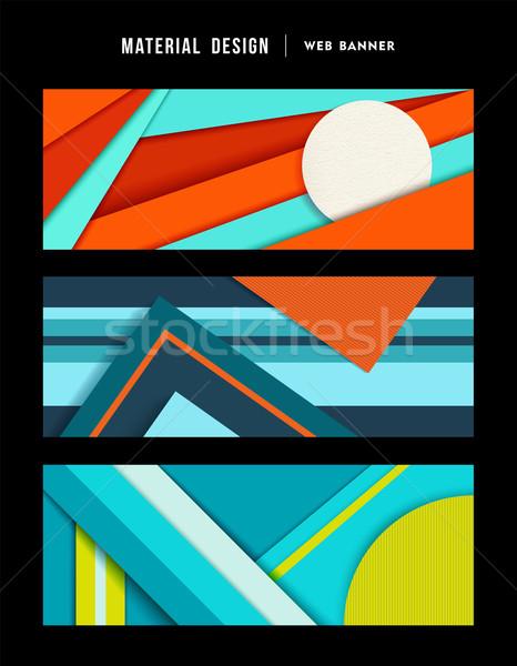 Materiale design abstract web banner set Foto d'archivio © cienpies