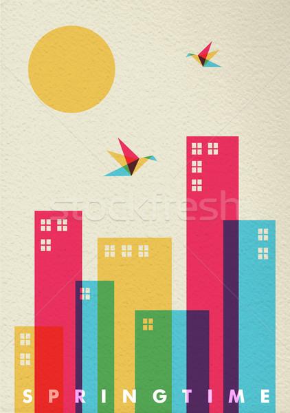 Spring time season diversity colors city concept Stock photo © cienpies