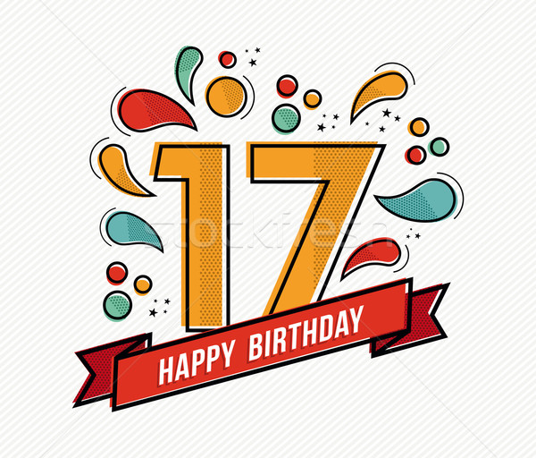 Colorful happy birthday number 17 flat line design Stock photo © cienpies