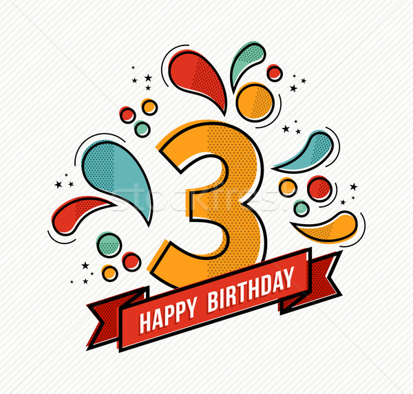 Stock photo: Colorful happy birthday number 3 flat line design