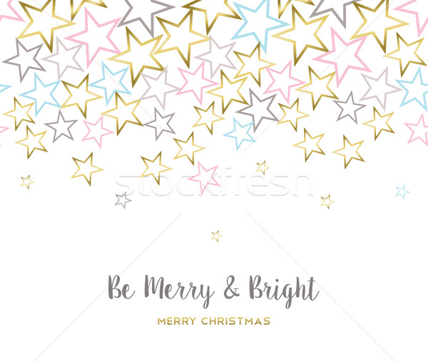 Merry christmas design with gold star decoration Stock photo © cienpies