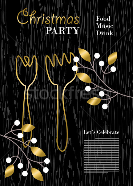 Christmas party template with gold decoration Stock photo © cienpies