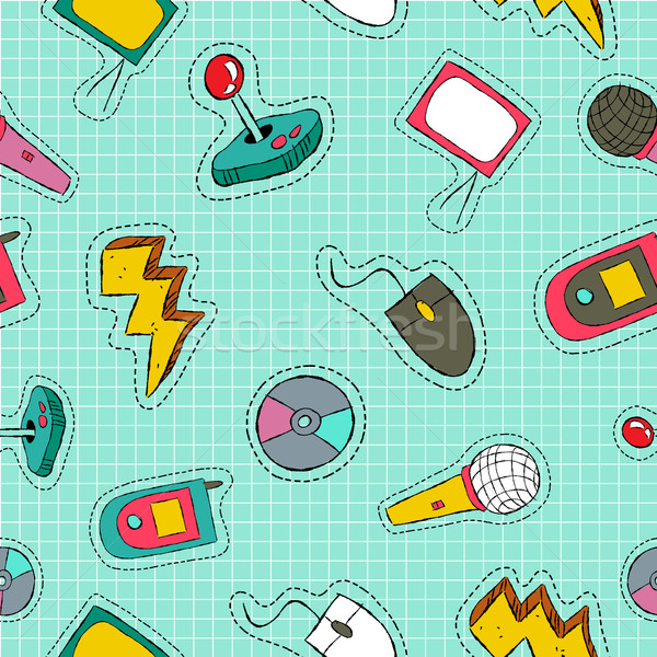 Retro technology patch icon seamless pattern Stock photo © cienpies
