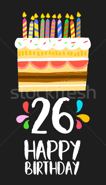 Buon compleanno carta 26 venti sei anno Foto d'archivio © cienpies
