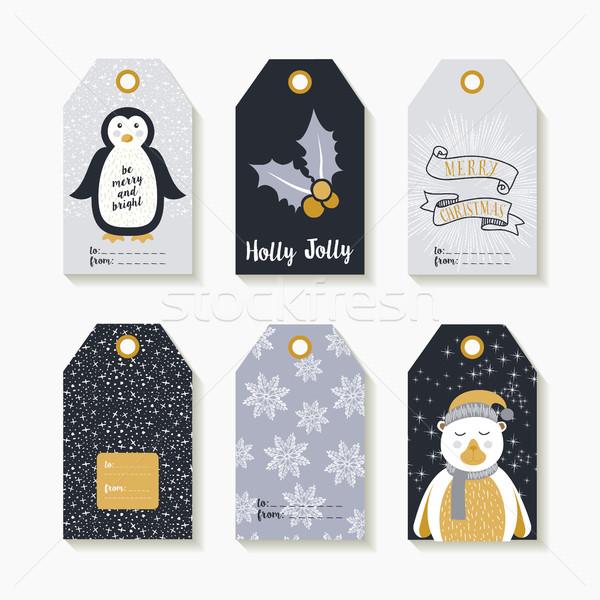 Noel ayarlamak etiketler tatil hediyeler Stok fotoğraf © cienpies