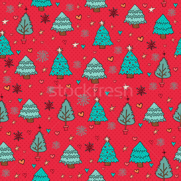 Heiter Weihnachten Kiefer Winter Doodle Hand gezeichnet Stock foto © cienpies