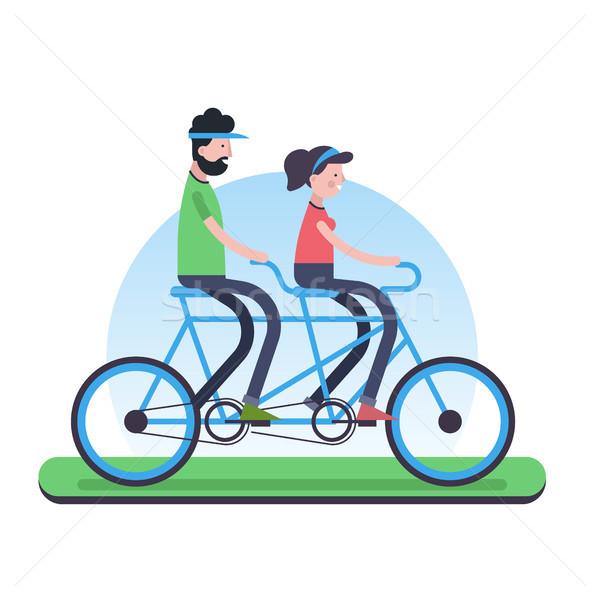 пару верховая езда тандем велосипедов среде помочь Сток-фото © cienpies