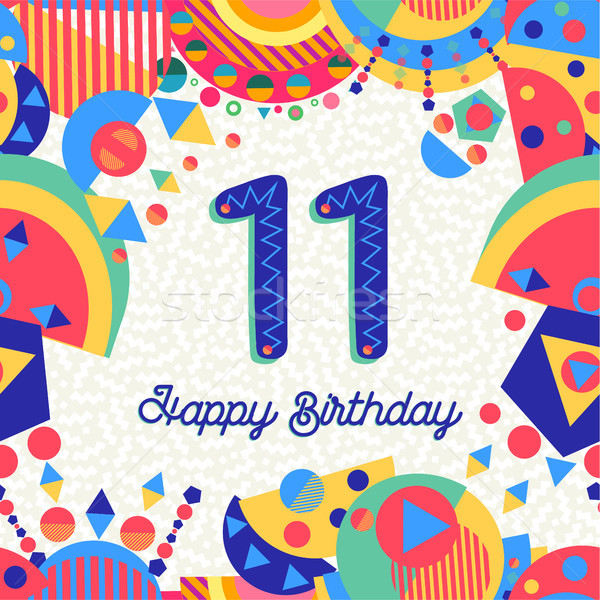 11 年 誕生日パーティー グリーティングカード お誕生日おめでとうございます 楽しい ストックフォト © cienpies