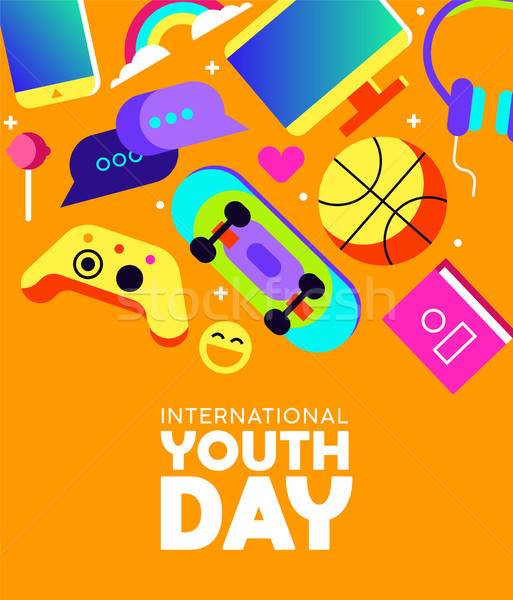 Youth Day card of fun teen activity icons Stock photo © cienpies