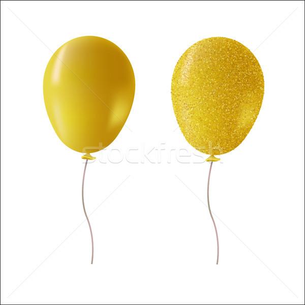 Or glitter fête ballons isolé hélium Photo stock © cienpies