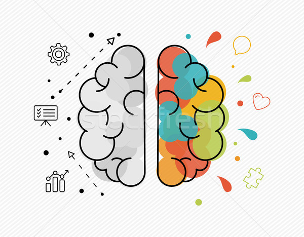 Creative and business ideas concept of human brain Stock photo © cienpies