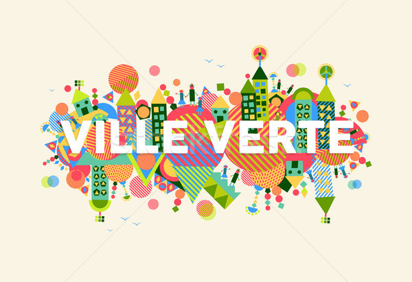 Green City french language concept illustration Stock photo © cienpies