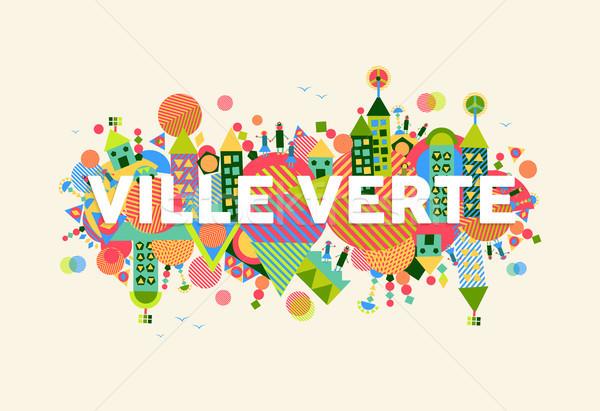 Green City french language concept illustration Stock photo © cienpies