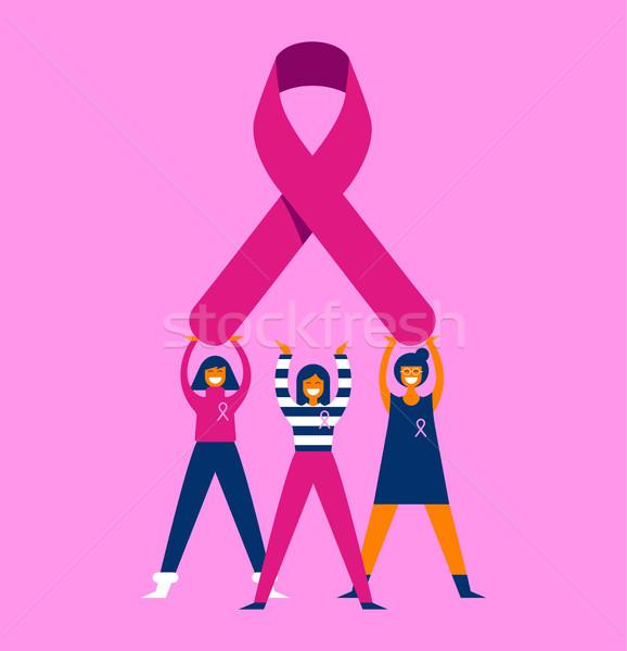 ストックフォト: 乳癌 · 認知度 · 月 · 女性 · 友達 · グループ
