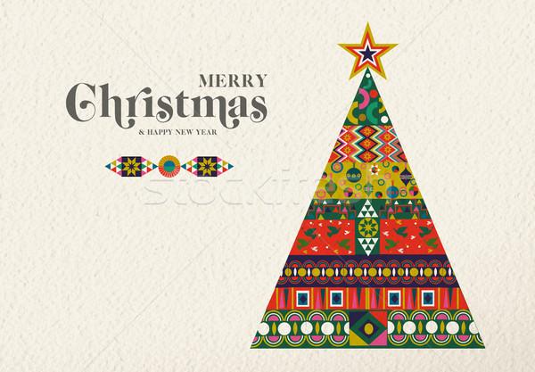Noel yılbaşı bağbozumu tatil çam ağacı neşeli Stok fotoğraf © cienpies