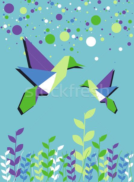 оригами hummingbird пару весны время синий Сток-фото © cienpies