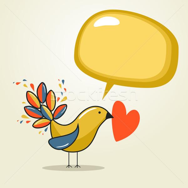 Foto stock: Medios · de · comunicación · social · aves · discurso · amor · comunicación · bocadillo