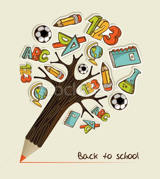 Photo stock: Crayon · arbre · école