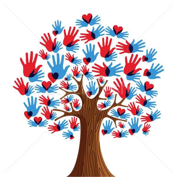 Isolado diversidade árvore mãos ilustração vetor Foto stock © cienpies