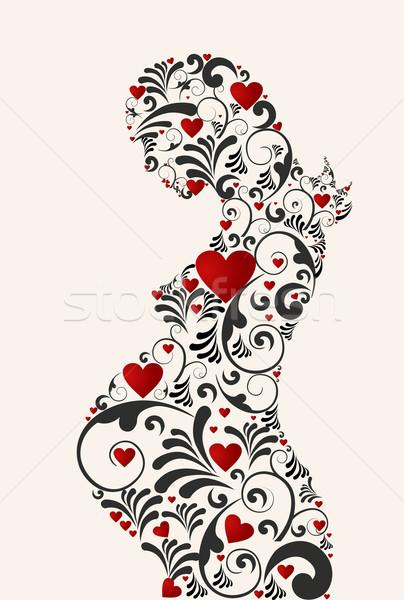 Floral amor mulher grávida coração retro Foto stock © cienpies