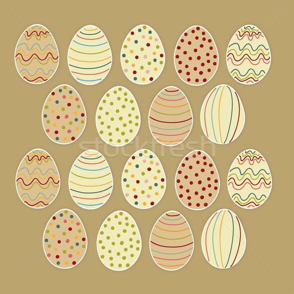 Happy Easter eggs set Stock photo © cienpies