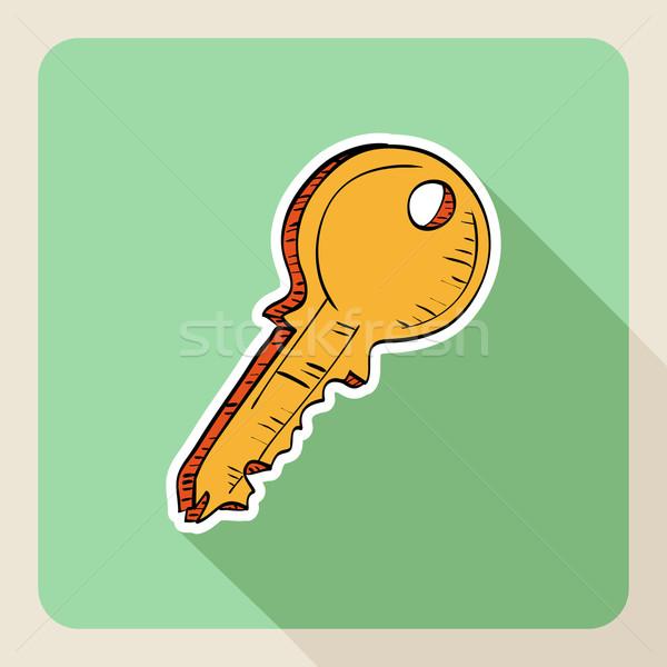 Sketch style real estate door key. Stock photo © cienpies