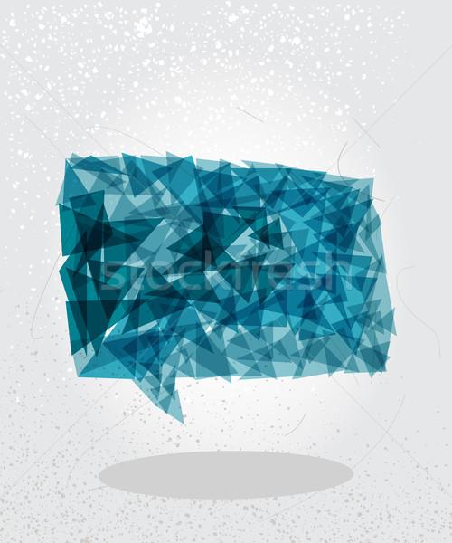 Blue social bubble geometric shape. Stock photo © cienpies