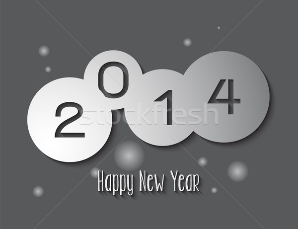 New Year 2014 circle paper cut card design Stock photo © cienpies