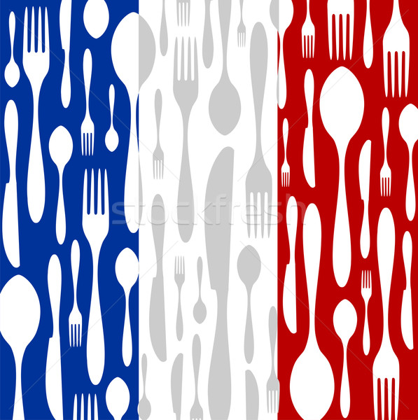 French Cuisine: Cutlery pattern on the country flag Stock photo © cienpies