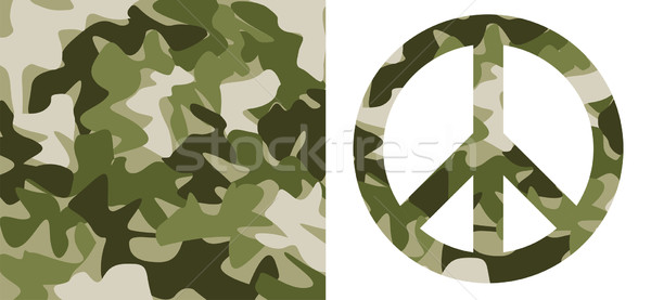 Camouflage pattern and Peace Symbol Stock photo © cienpies