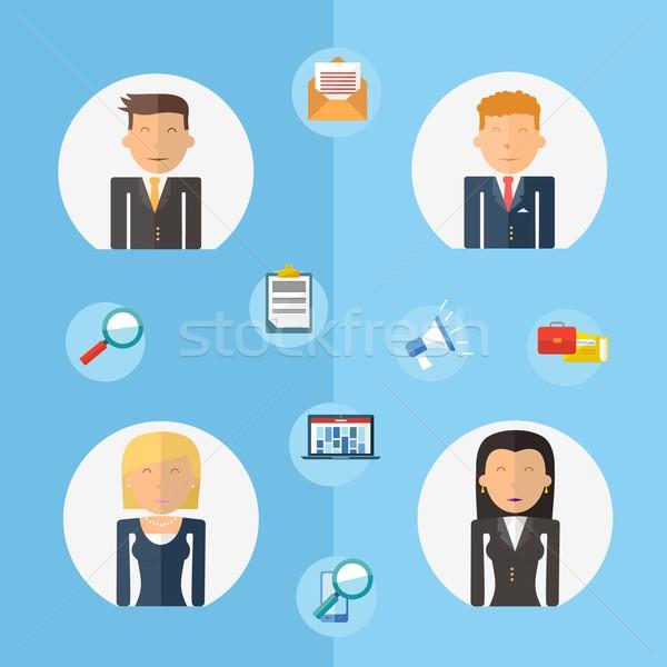 Business teamwork concept flat illustration Stock photo © cienpies
