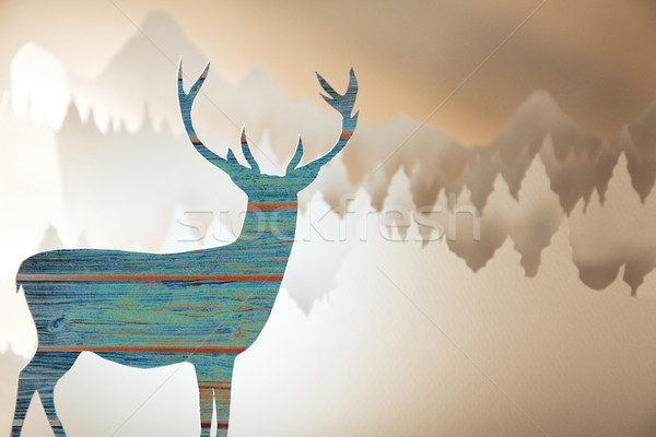 Stock photo: Merry christmas new year paper cut deer forest